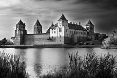 Château de Mir N/B (elenas_1) Tags: biélorussie bélarus château châteaudemir tourisme voyage bâtiment bw bn nb paysage architecture lac eau reflet monochrome ville calme manoir