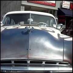 (david sine) Tags: linden newjersey nj old classic car classiccar flame flamejob hoodornament fuzzydice street fair stuff things yashica yashicaa tlr twinlensreflex mediumformat 120 color kodak portra film scannednegative
