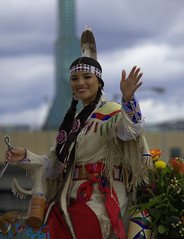 Wave and A Smile (swong95765) Tags: indian riding parade smile wave feather pretty beautiful