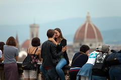 Young love, Florence (Mikey Down Under) Tags: florence italy firenze tuscany piazzale michelangelo love couple young lovers kissing hug city ilduomo backdrop