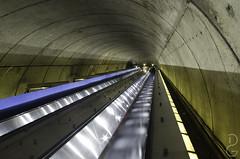 Two thirds escalator service (davegammon) Tags: 2016 dc escalator tunnel delayedexposure blur motion metro pentaxk30 architecture infrastructure citylife publictransport