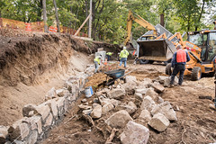 Retaining Wall Takes Shape (Old Derby) Tags: wall stonewall retainingwall construction landscape hardscape
