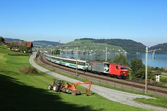 456 095, Immensee, 30 Sept 2016 (Mr Joseph Bloggs) Tags: bahn railway railroad immensee arth luzern voralpen express 456 095 456095 train treno st gallen 2577