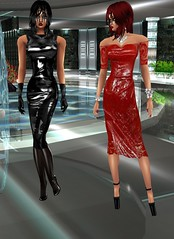 In a Wet Red Dress with Rubberdonna (SoakinJo) Tags: red imvu wetlook wetclothes wetdress highheels extremeheels