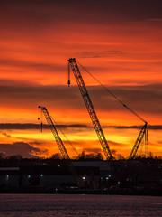Tyne Cranes Sunset (Northern Kev) Tags: tyne tyneandwear crane cranes sunset burning evening england nikon d7200 nikond7200 clouds water sky industry industrial