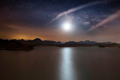 Moon Light Dance (samy olabi) Tags: ifttt 500px milky way stars night sky clouds sunset water long exposure lake mountains travel trees reflection mountain uae astrophotography moon