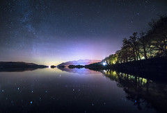 The Milky Way, Aurora Borealis, Autumn trees and snow capped mounatins. (John Finney) Tags: derwentwater aurora startrails lakedistrict lakes jetty night lowlight polarlight magnetosphericplasma longexposure northernlights northernfells cumbria borealis auroraborealis milkyway