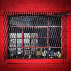 Red Window (tim.perdue) Tags: instagramapp square squareformat iphoneography uploaded:by=instagram red window brick wall cinder block painted glass panes metal screen columbus ohio franklinton