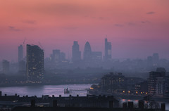 Hazy London (TheFella) Tags: uk greatbritain sunset red england sun slr london fog thames skyline digital skyscraper photoshop canon buildings river eos lights photo smog high haze europe cityscape skyscrapers dynamic unitedkingdom dusk capital greenwich magenta thecity explore photograph processing gb 5d hazy dslr range riverthames gherkin hdr highdynamicrange tower42 cityoflondon markii postprocessing photomatix explored herontower thefella 5dmarkii conormacneill thefellaphotography