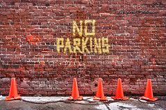 No Parking (Keeperofthezoo) Tags: city urban canada brick calgary downtown noparking ab alberta pylons downtowncalgary canonxsi backalleymeetup