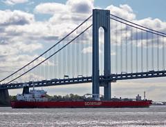 King Daniel (JVierno77) Tags: bridge sky ny newyork water brooklyn clouds canon rebel bay harbor boat marine ship suspension sailor statenisland narrows tanker tanks t3i verrazano vz cs5 55250mm vznarrowsbridge