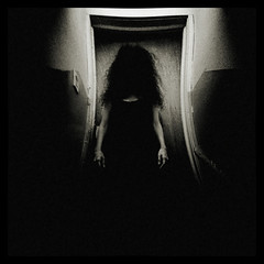 Shudder (Creepella Gruesome) Tags: door light blackandwhite selfportrait dark hair scary shadows sinister ghost grain surreal eerie haunted hallway creepy spooky smartphone squareformat mysterious horror nightmare cinematic android droid htc phantasm rezound creepellagruesome camerazoomfx