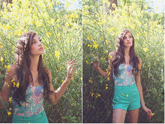 (Whitneylee) Tags: california flowers blue light woman sabrina green beauty leaves fashion yellow print photography spring model colorful natural modeling style naturallight pastels shorts brunette highwaisted highwaist