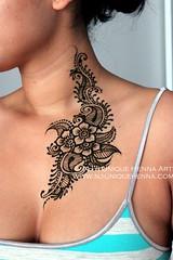 Kenia's henna body art from neck to chest 2013  NJ's Unique Henna Art (NJ's Unique Henna Art) Tags: toronto art floral tattoo neck unique chest nj scarborough elegant henna mehendi shoulder bodyart mehndi hennatattoo mehandi hennaart