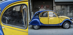 I love your little car, brother! (V and the Bats) Tags: auto car diptych 2cv thessaloniki  iloveyourlittlecarbrother themoststolencarinthessaloniki