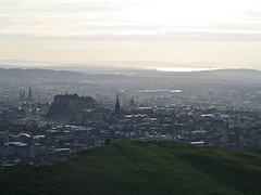 Edinburgh (Timbo_a_go_go) Tags: city sunset castle grass skyline scotland edinburgh seat hill arthurs