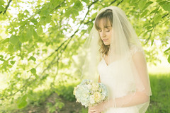 20130522_F0002: Bridal portrait (wfxue) Tags: flowers wedding portrait flower tree green love bride leaf heart ring event bouquet