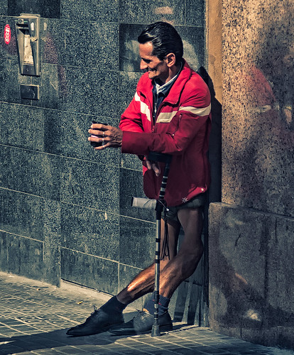 A disabled person in Barcelona