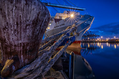 ALFIRK & The STARS (Lance Cunningham) Tags: ocean california longexposure nightphotography morning sea usa reflection lines port harbor losangeles twilight dock nikon ship ships tokina container bow bluehour containership bollard containerterminal ma