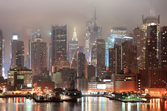 New York City Manhattan (m.sneft) Tags: nyc newyorkcity travel light urban panorama mist reflection building fog skyline architecture night america skyscraper river lights newjersey cityscape waterfront skyscrapers manhattan foggy nj landmarks midtown american metropolis hudsonriver metropolitan