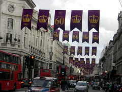 Celebrating queens 60 years coronation banners purple gold Regent Street London England 15th June 2013 republic 15-06-2013 17-45-38 (dennoir) Tags: