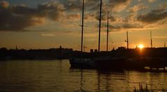 sunset (Sabina Talovic) Tags: city sunset sea panorama water night port boats boat stockholm center
