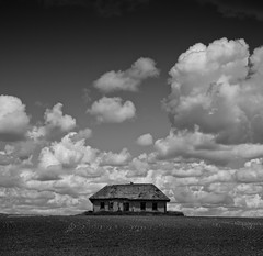 Little fluffy clouds (martinfowlie) Tags: blackandwhite house canada abandoned field clouds square farm alberta ruraldecay littlefluffyclouds theorb