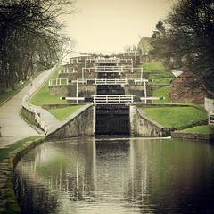 Bingley Five rise lock staircase Leeds Liverpool Canal (woodytyke) Tags: wood uk bridge england west green english heritage history water grass sign ferry liverpool fence photography canal photo cafe gate stair britain lock path timber 5 five top yorkshire north flight leeds paddle kingdom gear case beam riding staircase repair stanley barry trust boating locks british balance rise railings isles navigation towpath waterways stumble bingley flightlocks bywash woodytyke flickrandroidapp:filter=none