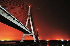 Puente Sobre el Río Guadiana (Laura Cárdenas) Tags: bridge sunset summer portugal night clouds puente atardecer noche andalucía huelva colores midnight nubes verano sur ayamonte medianoche caballete deckbridge