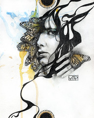 Be-Come (Patricia Ariel) Tags: boy portrait art face illustration butterfly watercolor drawing