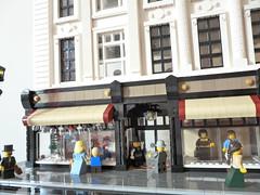 Barrie's Department store! (snaillad) Tags: street city food building restaurant town hall store lego tram scene northumberland modular department newcastleupontyne moc fenwicks barries