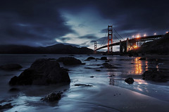 Night Falls at Marshall Beach (Andrew Louie Photography) Tags: life california camera bridge summer beach night canon reflections photography lights golden gate san francisco marin marshall headlands