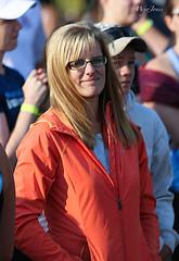 Lady In Orange (wyojones) Tags: orange woman cute girl beautiful smile sunglasses female race pretty shades idaho jacket blonde ashton runner relay 2013 fremontcounty wyojones grandtetonrelays grandtetonrelays2013
