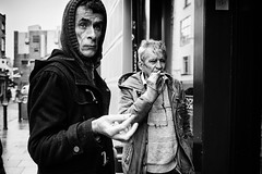 Smokers (Ross Magrath) Tags: from street camera old city ireland portrait people bw dublin irish white black colour men face bar contrast wonderful dark temple photography sadness mono weird high noir fuji shadows gloomy sad serious expression no candid character smoke south centre side x an eire smoking shade unknown shooting cropped format gloom hip lar agus ban drama miserable et blanc baile sneaky compact sensor rushing atha informal dubh cliath apsc x100s bblackdiamond