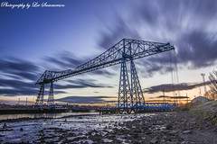 Blue Hour at the Blue Bridge (Lee Summerson) Tags: uk longexposure bridge blue sunset orange clouds colours middlesbrough transporterbridge northeastengland therivertees hoyandx400