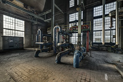 Morning Light Plant (billmclaugh) Tags: plant industry photoshop canon dark midwest industrial shadows urbanexploration generators hdr highdynamicrange ue lightroom urbex manufacturing boilers 14mm photomatix rokinon lightplant viveza condensors 5dmiii municipalelectricplant