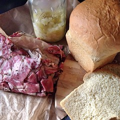 "Last night, we had a delicious dinner. Toasted slices of our freshly baked Farmhouse Brioche were dressed with mayo and homemade smoky tomato jam before we added paper thin slices of smoked Pastrami from @mainemeat . We gilded the lily with a healthy dose • <a style=""font-size:0.8em;"" href=""https://www.flickr.com/photos/54958436@N05/17340868239/"" target=""_blank"">View on Flickr</a>"
