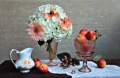 Blending Seasons (Esther Spektor - Thanks for 12+millions views..) Tags: stilllife naturemorte bodegon naturezamorta stilleben naturamorta composition art creativephotography arrangement artisticphoto seasons blend tabletop hydrangea gerbera food fruit apple berry vase pitcher bowl stand runner glass ceramics lace pattern availablelight white green red yellow peach pink brown grey estherspektor canon orange