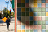 Chicago Grid (Andy Marfia) Tags: chicago edgewater brynmawrave tile wall entrance grid colors pastel shadow fall autumn d7100 1685mm 1640sec f45 iso100