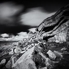Millstone grit (Stuart Feurtado) Tags: 10stop silverefex rock stanageedge nikon blackandwhite cloud monchrome longexposure le moody peakdistrict d810 cliff millstone
