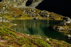 New hike, new luck (balu51) Tags: wanderung landschaft see bergsee grn dunkelgrn herbst hiking landscape lake mountainlake autumn fall green darkgreen emerald reflections lateafternoon switzerland swissalps grisons graubnden bergn september 2016 copyrightbybalu51