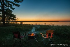 end of the day serenity (Thomas DeHoff) Tags: peaceful blue hour campfire lake superior sony a700