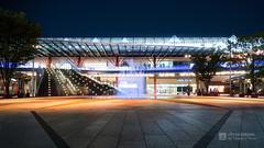 Facade of Gifu Station, north plaza () (christinayan01) Tags: station architecture night building perspective plaza japan park gifu