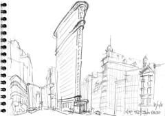 NYC, Broadway, Flat Iron Building (Croctoo) Tags: nyc newyork croctoo croquis croctoofr crayon gratteciel skyscraper flatiron ville sketch