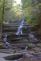 MINNEHAHA LARGE 3 (KayLov) Tags: nature georgia mountains hike water waterfall minnehaha large steps rock boulder trees forest woods ribbon green brown tan white leaves lake rabun