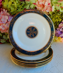 Royal Doulton Porcelain Salad Plates ~ Carlyle ~ Floral ~ Gold (Donna's Collectables) Tags: royal doulton porcelain salad plates carlyle floral gold thanksgiving christmas