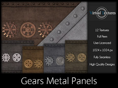 [VT] Gears Metal Panels (VirtualTextures) Tags: textures secondlife steampunk gears plates panels walls industrial distressed bolted