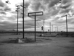 Intersection (The School of Light) Tags: theschooloflight blackwhite believeinfilm blackandwhite monochrome darkroomclasses laphotographyschool roadtrip highdesert california analogphotography classiccameras nikonf3 storm clouds infinity boron