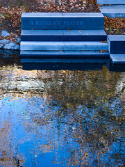 A River of Water (Steve Taylor (Photography)) Tags: steps avon river earthquake memorial ariverofwater art design tribute blue brown stone rock newzealand nz southisland canterbury christchurch cbd city leaves reflection autumn sunny