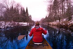 A Winter's Paddle... (deanspic) Tags: 100paddles 114100 g3x winterpaddling wintercanoeing canoeing paddle paddling canoe mary bow byfilter still reflection overcast dalesvilleriver lakelouisa quebec